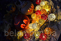 "Гирлянда из шариков ротанга ""Хэллоуин"".  Диаметр шарика - 5 см."