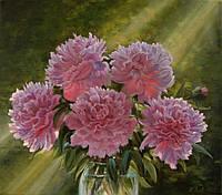 """Картина по номерам «Идейка» (КН1119) художественный творческий набор """"Розовые пионы в вазе""""  50x40 см"""