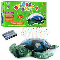 Ночник YJ 3 (20шт) черепаха(плюш+пласт),35см,проект ночн неба,3 реж, на бат-ке, в кор-ке, 35-21-11см