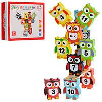 Деревянная игрушка Игра MD 0954 (60шт) фигурки( сова+цифры)12 шт, в кор-ке, 19-14,5-4см