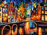 "Картина по номерам «Идейка» (КНО1013) художественный творческий набор ""Огни Амстердама""  50x40 см"