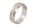 Серебряное обручальное кольцо с золотом Дорожка циркония