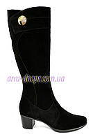 Женские классические замшевые сапоги на невысоком каблуке, демисезонные, фото 1
