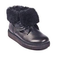 Модные кожаные ботинки с черной опушкой Bistfor
