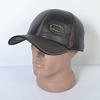 Мужская модная Кожанная теплая кепка на флисе с ушками - 29-521