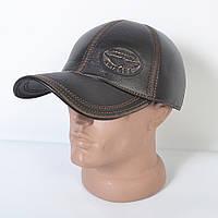 Мужская модная Кожанная теплая кепка на флисе с ушками - 29-522