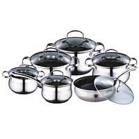 Набор посуды 12 предметов (кастрюли 2.1л, 2.9л, 4.1л, 6.3л; ковш 2.1л; сковорода 24см) Kamille