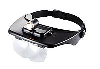 Наголовник специальный- лупа бинокулярная с подсветкой и комплектом линз 60202+подарок или бесплатная доставка
