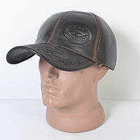 Мужская модная Кожанная теплая кепка на флисе с ушками - 29-523
