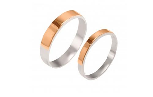 Обручальное кольцо из серебра с накладками золота Американка