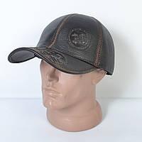 Мужская модная Кожанная теплая кепка на флисе с ушками - 29-524