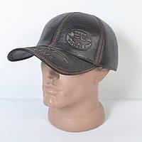 Мужская модная Кожанная теплая кепка на флисе с ушками - 29-525