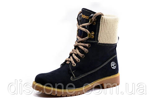 Ботинки Timberland, высокие зимние, унисекс, темно-синие, нубук
