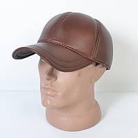 Кожаная коричневая теплая кепка на флисе мужская модная с ушками - 29-527
