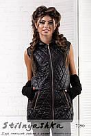 Женский стеганный черный жилет