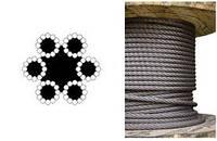 Трос (канат) стальной черный в смазке ISO 2408 (6X12)