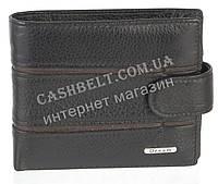 Кожанный, компактный мужской прочный кошелек с красивой вставкой  DREAM art. 208-2A черный