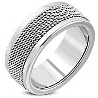 Мужское кольцо из стали с сеткой по периметру, в наличии 20.0