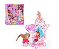 Кукла Defa беременная с дочкой, коляской, собачкой и аксессуарами