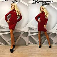 """Красивое, женское мини-платье """"Ангора, воротник бантик""""  РАЗНЫЕ ЦВЕТА"""