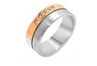 Серебряное обручальное кольцо с золотом Вместе навсегда