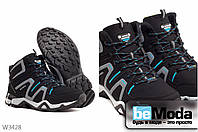 Удобные женские кроссовки на искусственном меху Sayota Black/Sky Blue оригинального фасона на рифленной подошве черные