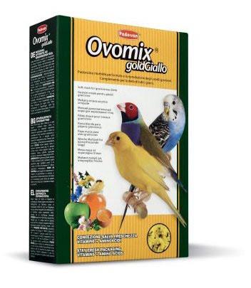 Padovan OVOMIX GoldGiallo  Нежный дополнительный корм для птенцов и декоративных птиц в период линьки 0,300гр