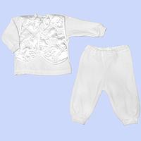 Крестильный костюмчик: кофточка и штанишки; велюр, ТМ Little Angel, р. 62
