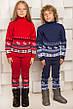 """Теплый шерстяной КОСТЮМ """"Олени"""" (свитер + брючки), для девочки, цвет красный, на рост 86 - 92 см, фото 3"""