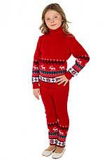"""Теплый шерстяной КОСТЮМ """"Олени"""" (свитер + брючки), для девочки, цвет красный, на рост 86 - 92 см, фото 2"""