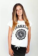 Необычная женская удлиненная футболка из качественного хлопка с оригинальным принтом на груди белая, бирюзовая, оранжевая