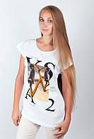 Стильная женская футболка из качественного хлопка с оригинальным принтом на груди белая, бирюзовая, темно-оранжевая, светло-серая