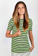 Удобная женская футболка из качественного трикотажа в горизонтальную полоску желтая, зеленая, оранжевая, салатовая