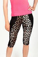 Комфортные женские велотреки из приятного к телу материала с леопардовой вставкой черные