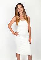 Оригинальное женское облегающее платье из качественного хлопка спортивного кроя на тонких бретелях белое, сетло-серое
