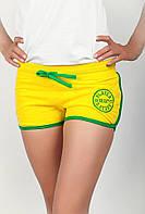 Удобные женские спортивные короткие шорты из качественного трикотажа с контрастной отделкой коричневые, желтые, зеленые