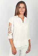 Великолепная женская блуза с рубашечным воротником и прорезями на рукавах белая, светло-розовая, темно-синяя