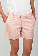 Оригинальные женские короткие шорты классического кроя с высокой талией и отворотами бежево-розовые, бирюзовые, бордо, горчичные, желтые, коралловые,