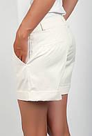 Оригинальные женские короткие шорты классического кроя с высокой талией и отворотами молочные, морковные, мятные, оливковые, петроль, салатовые,
