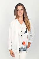 Стильная женская блуза из шифона без пуговиц с рукавами 3/4 белая, лимонная