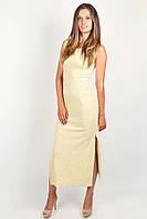 Эффектное женское платье в спортивном стиле с высокими разрезами по бокам розовый меланж, желтый меланж