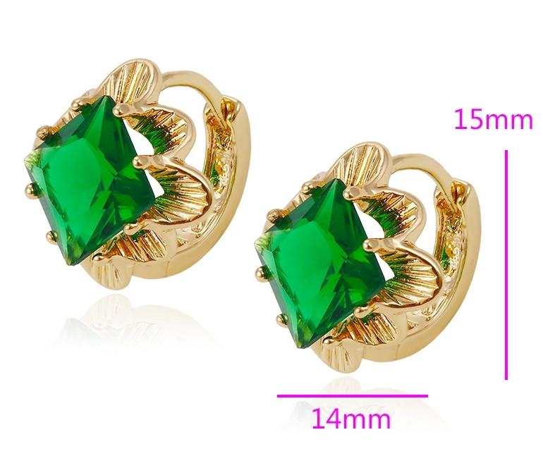 Сережки Квадрат, з зеленим цирконієм, позолота Xuping, 18К