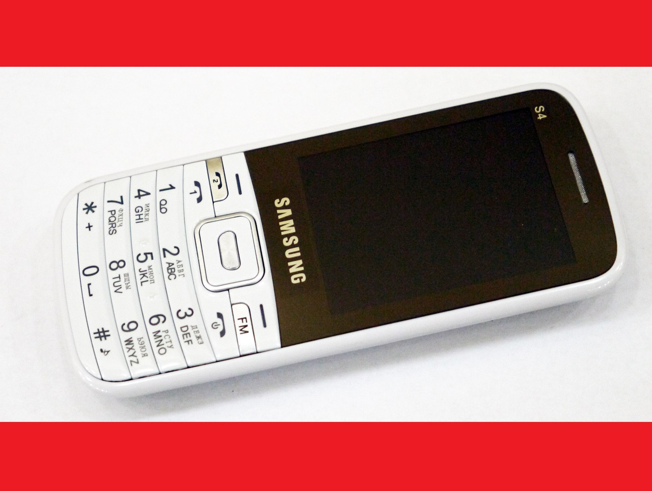 "Телефон Samsung S4 Белый - 2,4""+BT+Cam+Fm-тонкий корпус"