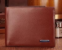 Коричневый мужской небольшой кошелек бумажник из натуральной кожи