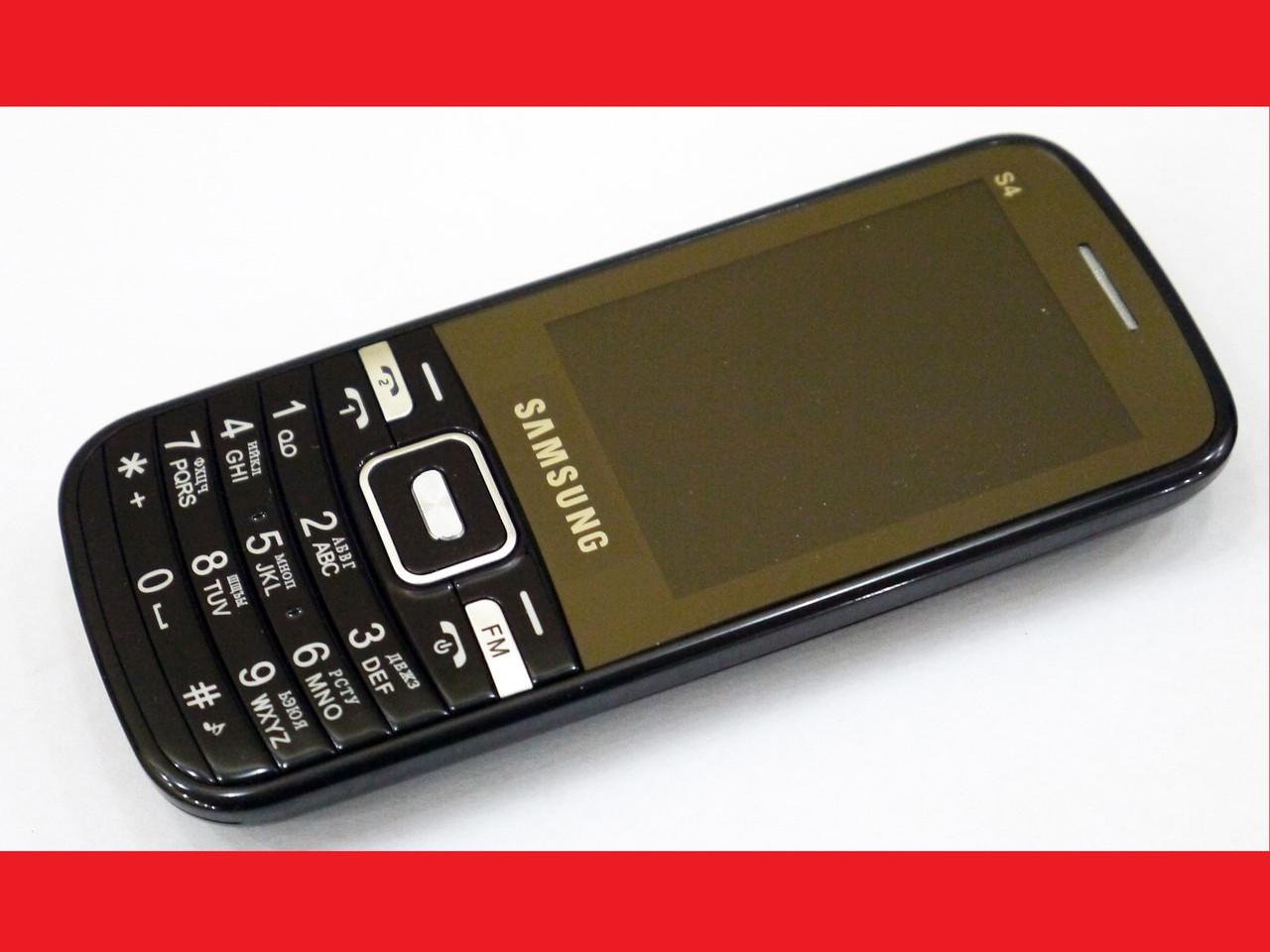 """Телефон Samsung S4 Черный - 2,4""""+BT+Cam+Fm-тонкий корпус"""