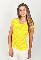 Свободная женская блуза из шифона оригинального кроя желтый горох, оранжевая, оранжевый горох