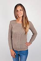 Необычный женский свитер из оригинальной вязки с клубоким ассиметричным вырезом малиново-розовый