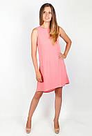 Нарядное женское платье свободного кроя без рукавов из тончайшего шифона коралловое, лимонное