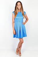 Оригинальное женское платье без рукавов с юбкой в складку голубое, сиреневое