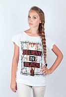 Необычная женская удлиненная футболка из качественного хлопка с оригинальным крупным принтом на груди белая, бирюзовая, коралловая, светло-серая